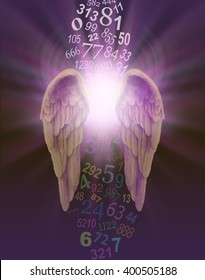 Angel Numbers - a pair of angel wings with burst of divine light behind and a stream of random numbers above and below appearing to be cleansed by the light on a dark purple background