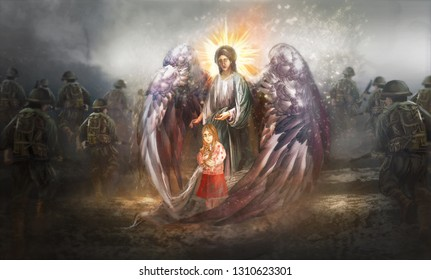 Angel protecting child in warzone