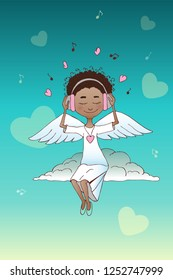 Angel sitting on a cloud on the background of hearts and music. Valentine's Day greeting card for print.