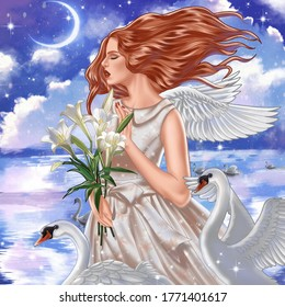 Angel in the sky with a beautiful swan