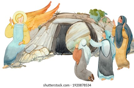 Angel speaks to women-myrrh-bearers about the resurrection of Jesus Christ, the tomb of the Lord, isolated on a white background.For Christian church publications, Easter cards, prints.Biblical contex