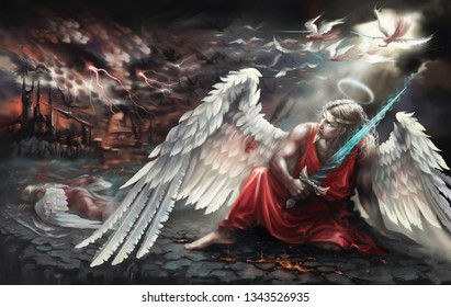 The angel with the sword. Fell. Battle of angels. Digital painting.