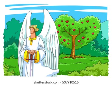 An Angel with a Sword guarding the Entrance to the Garden of Eden to the Tree of Life