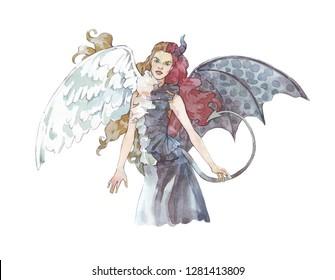 angel vs demon girl watercolor illustration hand painted