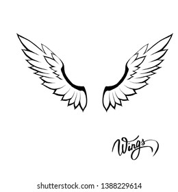 Angel wing art animal design tattoo