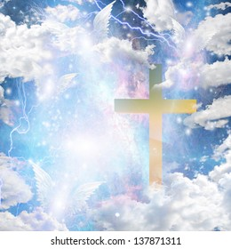 Angel winged hover around cross