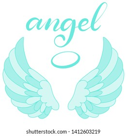 Angel wings in blue color with hand lettering word angel. Religious calligraphic text and symbol of Christianity. Vector illustration in cartoon style for logo. Eps10