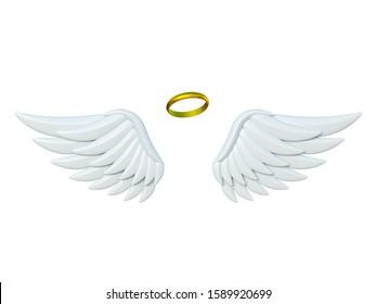 Angel wings and golden halo 3d rendering