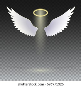 Angel wings with golden halo hovering on the transparent background. The symbol of faith, religion, mysticism, magic and miracles. Wings and golden halo, 3D illustration.