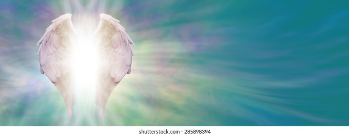 Angel Wings and Healing Light Banner - White Angel wings with bright light beaming outwards from between on an ethereal jade blue green energy formation background