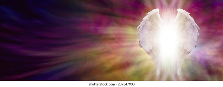 Angel Wings and Healing Light Banner - White Angel wings with bright light beaming outwards from between on an ethereal warm rich colored pink and gold energy formation background