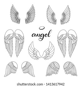 Angel wings icon set with hand lettering word angel. Religious calligraphic text and symbol of Christianity. Illustration in cartoon style for logo. Black and white design.