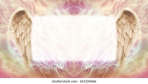 Angel Wings Message Board   -   wide wispy ethereal energy background with a large misty white central message board area  flanked by a pair of Angel wings