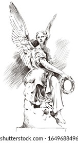Angel with wreath monument classic architecture illustration graphics pencil sketch. White isolated background paint.