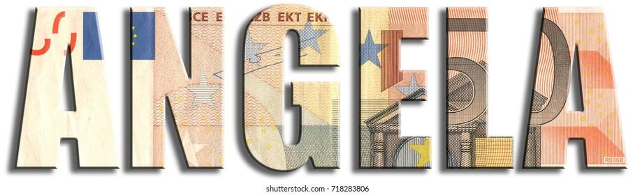 Angela. Euro banknote texture.