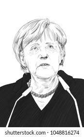 Angela Merkel. Portrait Drawing Illustration. March 18, 2018