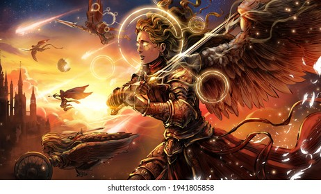 angelic army depicts a beautiful female knight flying across the sky into battle with a magical sword in hand, with her fellow angels beside her. In the background there is a large Gothic castle.
