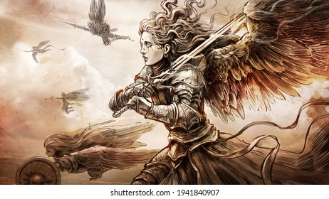 angelic army, made in the style of a pencil sketch, it depicts a beautiful woman knight flying through the sky into battle with a magic sword in her hands, her fellow angels are next to her.