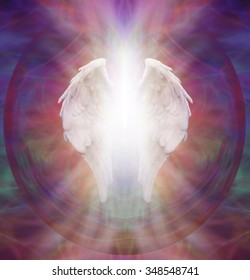 Angelic Guardian - Isolated symbolic white Angel wings with a burst of white light between on an intricate ethereal sacred multicolored pattern background