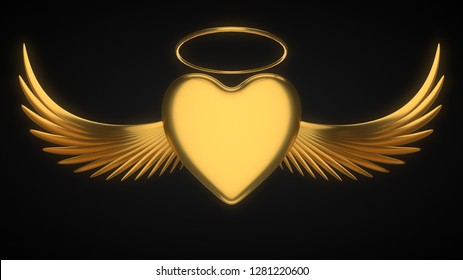 angelic heart for. suitable for love, emotions and valentine's day themes. 3d illustration