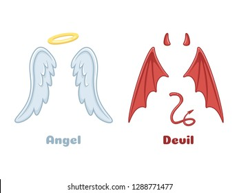 Angels and demons wings. Cartoon evil demon horns and good angel wing with angelic nimbus. Devil bad evil and saint angel mischief heaven goods characters  isolated icon illustration set
