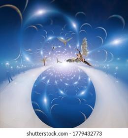 Angels in eternity. Spiritual art. 3D rendering