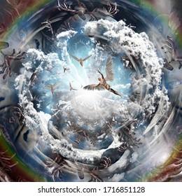 Angels flies in tunnel of souls. 3D rendering