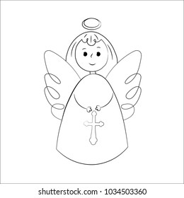 angels on a white background. Hand-drawn in the style of doodle. Isolated objects.