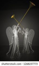 Angels playing the judgment trumpet, 3d illustration