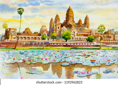 Angkor Wat Temple, Cambodia, Southeast Asia. Watercolor painting landscape colorful of architecture, section natural tourism travel in beautiful season and sky background. Hand drawn illustration.