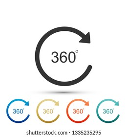 Angle 360 degrees icon isolated on white background. Rotation of 360 degrees. Geometry math symbol. Full rotation. Set elements in colored icons. Flat design