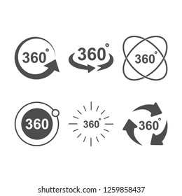 Angle 360 degrees sign icon set design