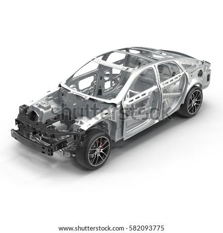 Angle Car Frame Chassis On White Stock Illustration 582093775 ...
