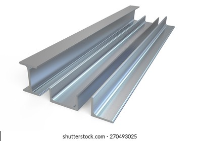 angle, rail and channel steel  bar isolated on white background