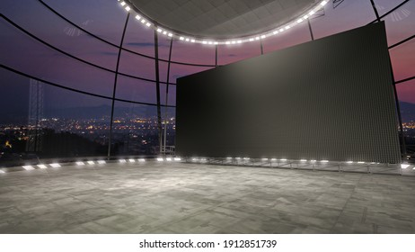 Angle view, full frame of a virtual stage set with a huge videowall. A 3D rendering VR backdrop ideal for TV shows, keynotes or product presentations