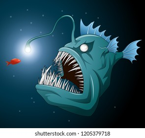 Anglerfish mouth on dark background. Luminous bait and anglerfish teeth
