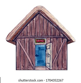 Anglo Saxon house watercolour / marker sketch. Hand drawn raster image. Can be used for education purposes, or for ads, printed flyers, attracting tourists to historic English medieval sightseeings.