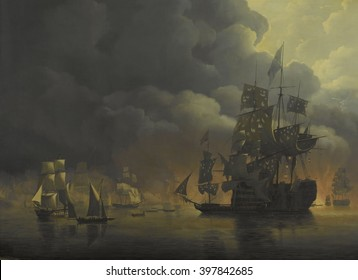 The Anglo-Dutch Fleet under Lord Exmouth and Vice Admiral Jonkheer Theodorus Frederik van Capellen putting out the Algerian Strongholds, August 27, 1816, by Nicolaas Baur, 1818, Dutch painting, oil on
