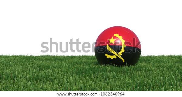 Angola Angolan flag soccer ball lying in grass, isolated on white background. 3D Rendering, Illustration.