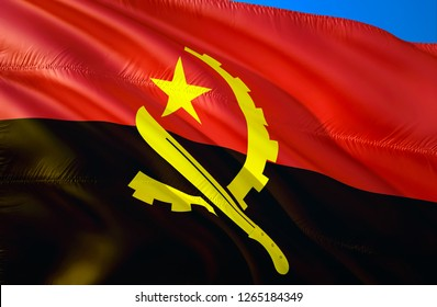 Angola flag. 3D Waving flag design. The national symbol of Angola, 3D rendering. Angolan National colors. National flag of Angola for a background. Angola sign on smooth