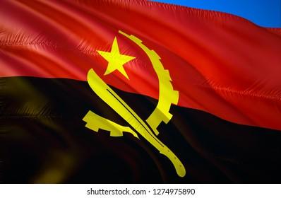 Angola flag. 3D Waving flag design. The national symbol of Angola, 3D rendering. The national symbol of Angolan background wallpaper. 3D ribbon, wallpaper, pattern background