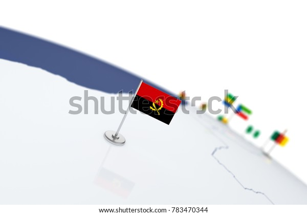 Angola flag. Country flag with chrome flagpole on the world map with neighbors countries borders. 3d illustration rendering flag