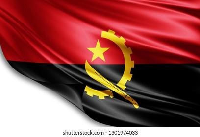 Angola flag of silk-3D illustration