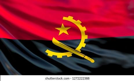 Angola flag. Waving flag of Angola 3d illustration. Luanda