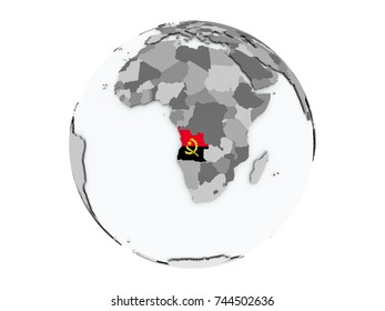 Angola on political globe with embedded flags. 3D illustration isolated on white background.