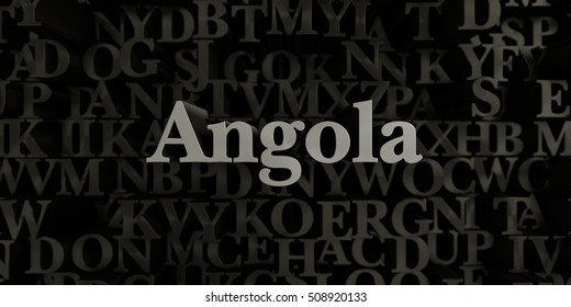 Angola - Stock image of 3D rendered metallic typeset headline illustration.  Can be used for an online banner ad or a print postcard.