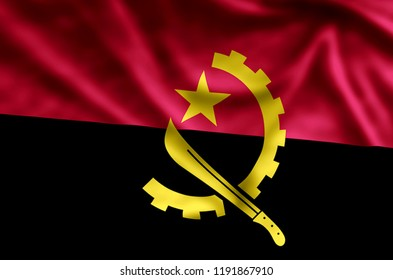 Angola stylish waving and closeup flag illustration. Perfect for background or texture purposes.