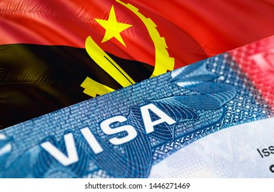 Angola Visa Document, with Angola flag in background, 3D rendering. Angola flag with Close up text VISA on USA visa stamp in passport.Visa passport stamp travel Angola business