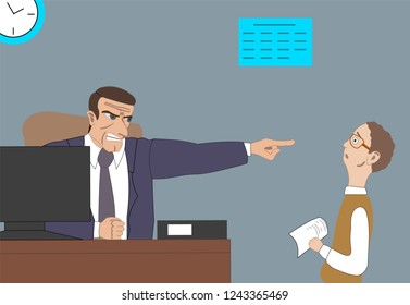 Angry boss fires employee and points at the door at the office. Business concept unemployment, crisis, jobless and employee job reduction. Work space, work place with furniture, plants.