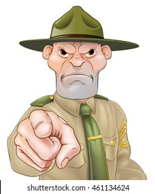 Angry cartoon army boot camp drill sergeant pointing
